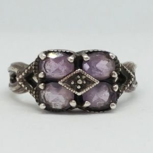 Amethyst Sterling Silver Art Deco Style Ring
